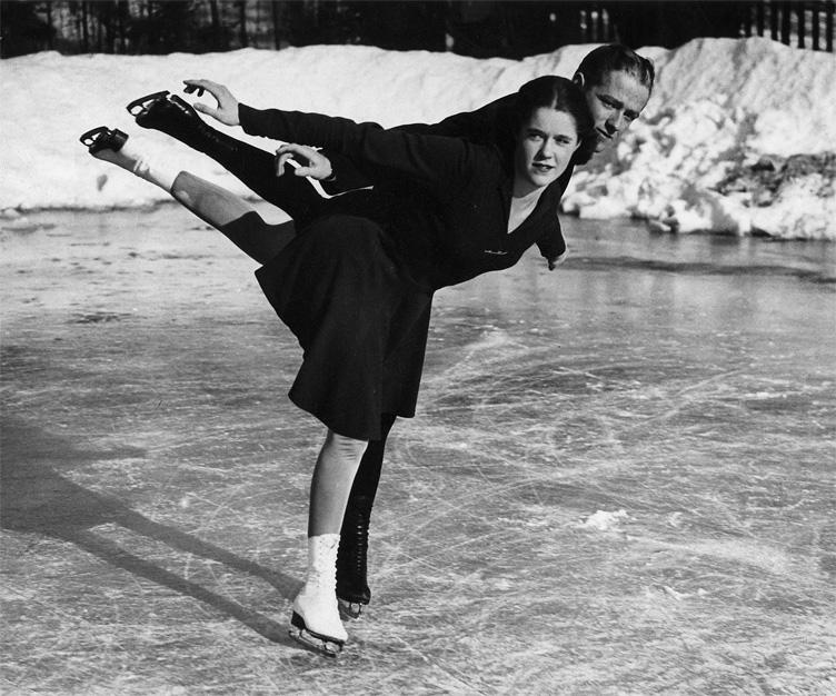 M. Bernard (Babe) Fox and Joan Tozzer, national pairs champions, 1938-1940